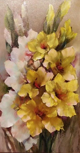 Картина цветы «Гладиолусы» купить живопись для современных интерьеров Украина