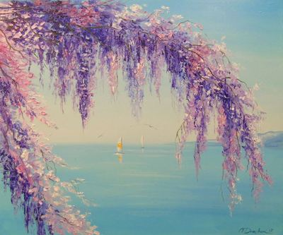 Картина «Глициния у моря»