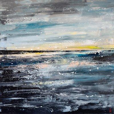 Картина маслом морской пейзаж «Горизонт» купить живопись для современных интерьеров Украина