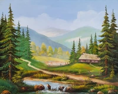 Горный пейзаж картина маслом «Горная тишина» купить картину Киев