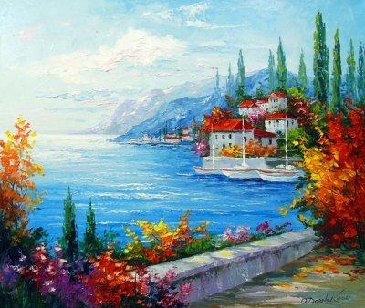 Картина пейзаж «Городок у моря» купить живопись для современных интерьеров Украина