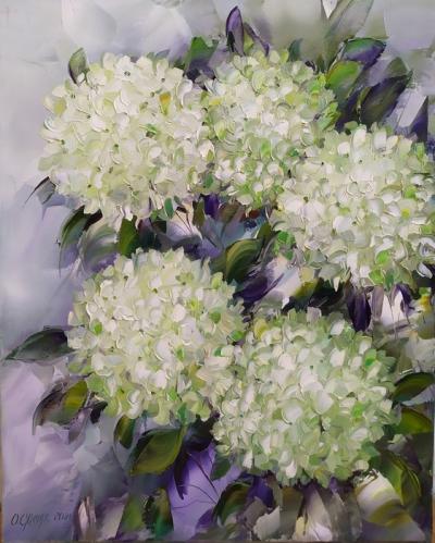 Картина маслом цветы «Гортензия» купить современную живопись Украина