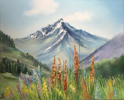 Картина маслом горный пейзаж «Горы» купить живопись для современных интерьеров Украина