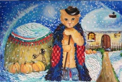 Картина маслом «Хозяин» купить живопись для современных интерьеров Украина