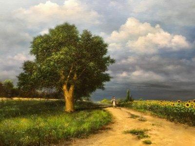 Картина маслом сельский пейзаж «Хуторянка» купить современную живопись Украина
