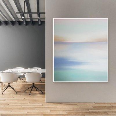Абстрактная картина море купить Украина «Нежная тишина» живопись для современных интерьеров