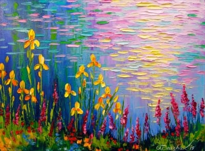 Картина маслом цветы «Ирисы у пруда» купить живопись для современных интерьеров Украина