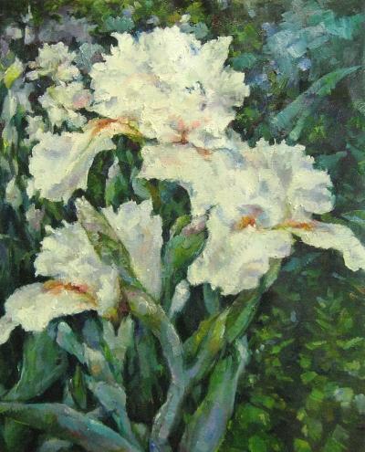 Картина цветы «Ирисы» купить живопись для современных интерьеров Киев