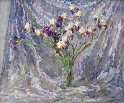 Картина маслом цветы «Ирисы на серебристом фоне» купить живопись для современных интерьеров Украина