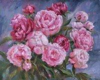 Картина цветы «Июньские пионы» купить живопись для современных интерьеров Украина