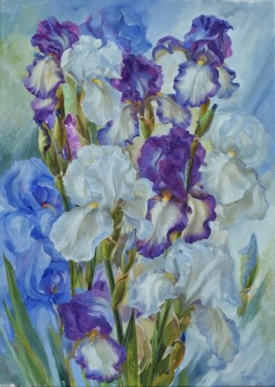 Картина цветы «Из синевы облаков» купить живопись для современных интерьеров Украина