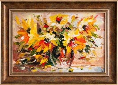 Картина маслом живопись «Желтые цветы» купить живопись для современных интерьеров Киев