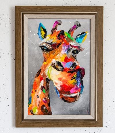 Картина маслом анималистика детям «Жираф» купить живопись для современных интерьеров Украина