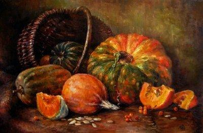 Картина натюрморт «Тыквы» купить живопись для современных интерьеров Киев