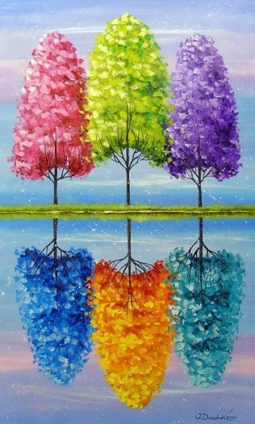 Абстрактная картина «Каждое дерево имеет яркую жизнь» купить живопись для современных интерьеров Украина