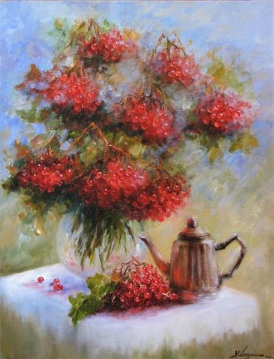 Картина натюрморт «Калина» купить живопись для современных интерьеров Украина