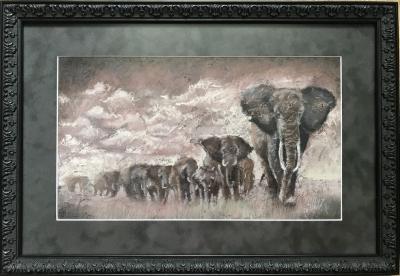 Живопись анималистика «Картина со слонами» купить картину в Киеве для современных интерьеров