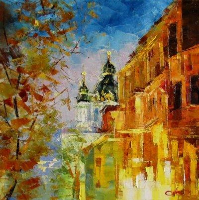 Картина маслом киевский пейзаж «Киевская сказка» купить живопись для современных интерьеров Украина