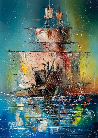 Картина маслом абстракция «Корабль призрак» купить живопись для современных интерьеров Киев