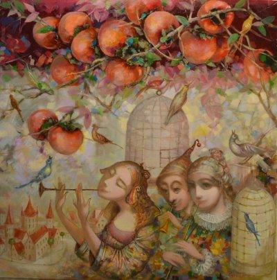Картина маслом сказочный пейзаж детям «Корольковая аллея» купить живопись для современных интерьеров Украина