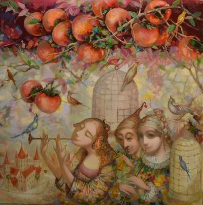 Картина маслом «Корольковая аллея» купить живопись для современных интерьеров Украина