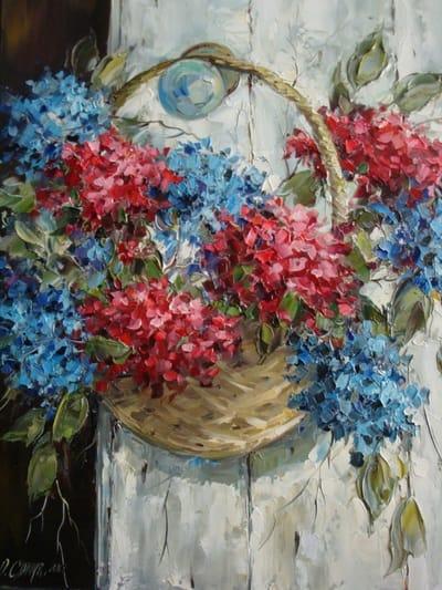 Картина цветы «Корзинка гортензии»