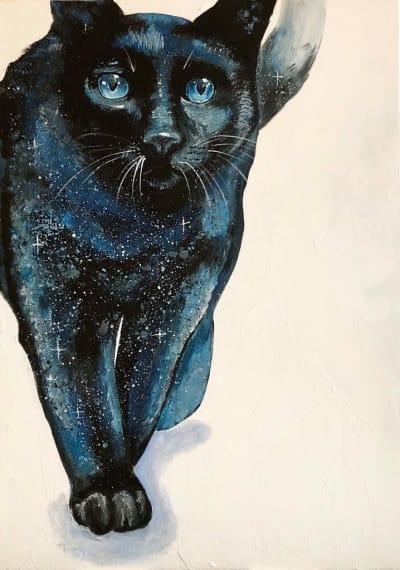 Картина акрил анималистика «Кошка» купить живопись для современных интерьеров Украина