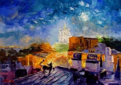 Картина маслом городской пейзаж «Кот на крыше» - живопись для современных интерьеров Украина