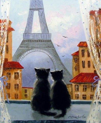 Картина анималистика «Коты Парижане» купить живопись для современных интерьеров Украина
