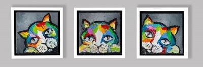 Картина триптих маслом анималистика детям «Котята» купить живопись для современных интерьеров Украина