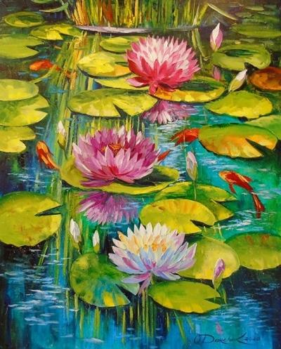Картина маслом летний пейзаж «Красивый пруд» купить живопись для современных интерьеров Украина