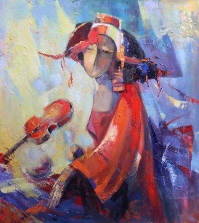 Картина маслом «Красная скрипка» купить живопись для современных интерьеров Украина
