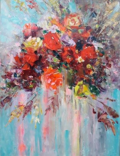 Картина маслом цветы «Красные розы» купить живопись для современных интерьеров Украина