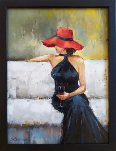 Картина маслом «Lady in red» купить живопись для современных интерьеров Украина