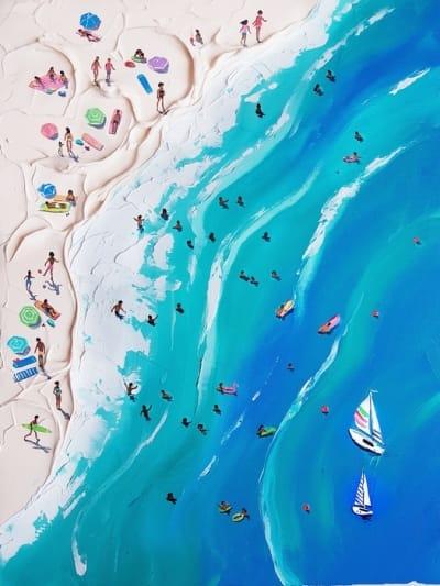 Картина маслом морской пейзаж «Голубая лагуна» купить живопись для современных интерьеров Киев