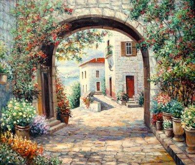 Картина «Цветочный дворик»