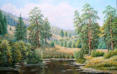 Картина «Летний день в лесу», копия картины В.Зайцева