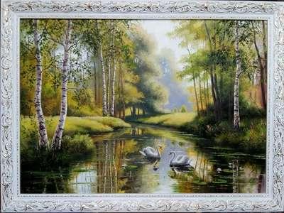 Картина «Лебеди на пруду»