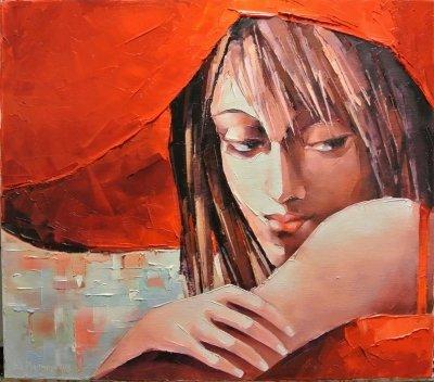 Картина маслом «Леди» купить живопись для современных интерьеров Украина
