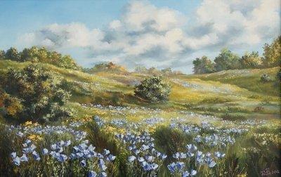 Картина маслом сельский пейзаж «Лен цветет» купить современную живопись Украина