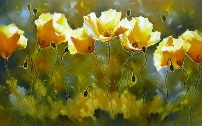 Картина цветы маслом «Летний цвет» купить живопись для современных интерьеров Украина
