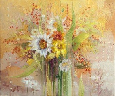 Картина с цветами «Летний букет» купить живопись для детской комнаты Киев