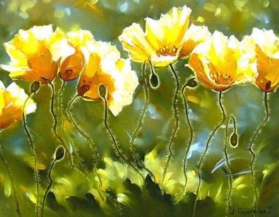 Картина маслом цветы «Летний цвет» купить живопись для современных интерьеров Украина