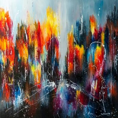 Картина живопись маслом абстракция «Летний вечер в городе» купить живопись для современных интерьеров Украина