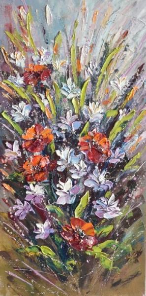 Картина маслом цветы «Лето наступило» купить живопись пейзаж Украина