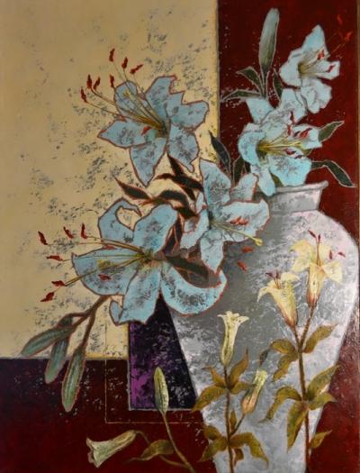 Картина цветы «Лилии» купить живопись для современных интерьеров Украина