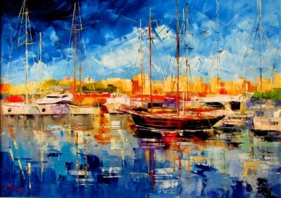 Картина маслом морской пейзаж «Лодки» купить живопись для современных интерьеров Киев