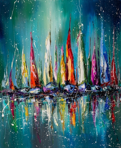 Картина маслом абстрактный морской пейзаж «Лодки в гавани» купить живопись для современных интерьеров Украина