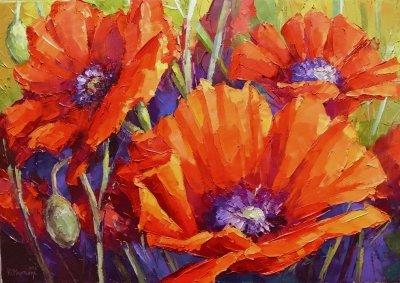 Картина живопись с цветами «Маки» купить живопись для современных интерьеров Украина