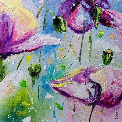 Картина маслом цветы «Маки» купить живопись для современных интерьеров Киев